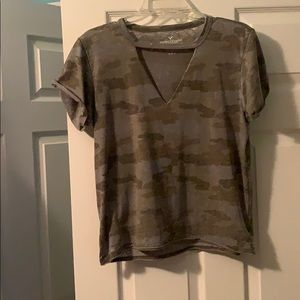army tee with cut out neck